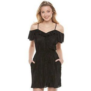 NWT Candie's Black Sheer Cold Off Shoulder Dress